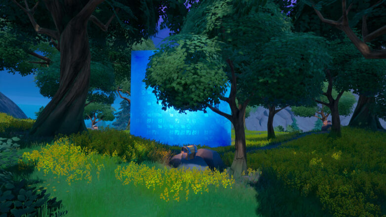 Showing chest locations that surround the Blue Cube at Friendly Forest