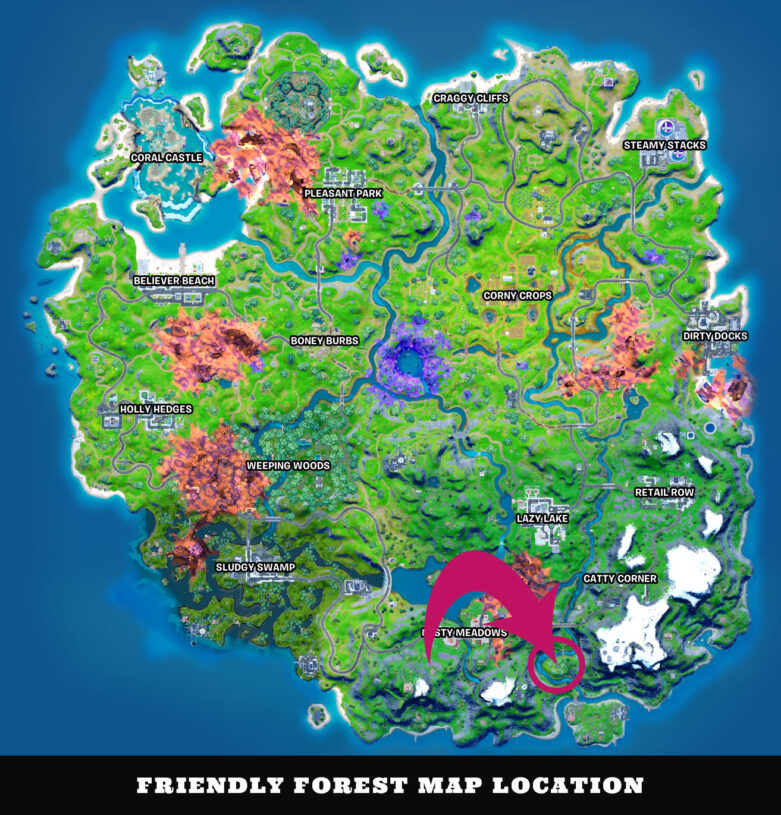 Fortnite map pointing out the location of Friendly Forest